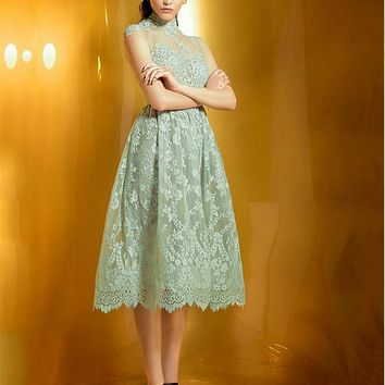 [104.99] Elegant Lace Illusion High Neckline A-line Homecoming Dress with Lace Appliques - dressilyme.com