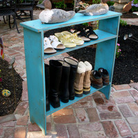 Narrow Wood Table - Shelve - Entry Hall - Shoe Storage - Mud Room - Shabby - Cottage Chic - French Country - Wooden - Distressed Furniture
