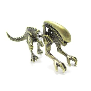Xenomorph Alien vs. Predator AVP Shaped Front and Back Stud Earrings in Brass