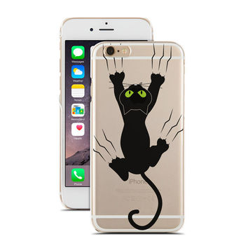 Cute Black Cat Grabing Your Phone - Super Slim - Printed Case for iPhone - S052