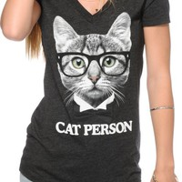 A-Lab Cat Person V-Neck T-Shirt