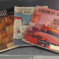 Lot 3 The American Home 50s Decorating Magazine 1955 1950 1952 Atomic Decor 50s Pink Bathroom Pink Kitchen Eames Era Decor Mid Century