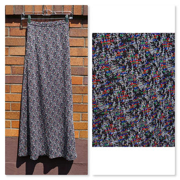 Vintage Sparkle Maxi, Metallic Silver Knit, Varigated Multi Color, XS, Long Skirt, Party, Festival, Costume, Hippie, Boho