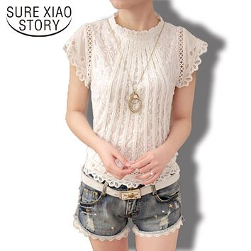 New 2018 Summer Fashion elegant solid Women Blouses  Petal Sleeve Lace  Chiffon O-neck Plus Size Shirt Tops 01C 35