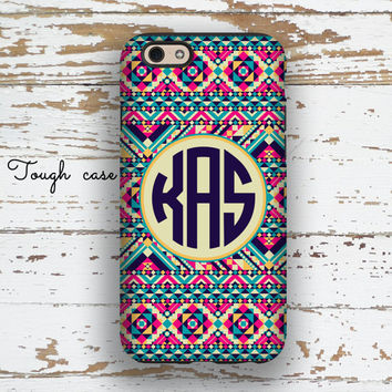 USA seller, Monogram Iphone 6 case Aztec Iphone 5c case Tribal iPhone 5 case Cute iPhone 4 case Girls fashion accessory Hot pink navy (1261P