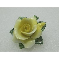 """Vintage Crown Porcelain Yellow Rose Brooch, Staffordshire, England, 1960's. 1.75"""""""