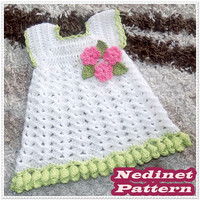 Crochet baby dress pattern, crochet baby clothing pattern, crochet flower edge dress, 0-4 years sizes dress pattern, How to make baby dress