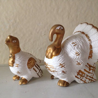 Retro Ceramic Bisquit Thanksgiving Pair of Turkey Salt and Pepper Shakers White and Gold Turkeys