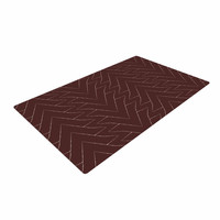 """Julia Grifol """"Brown Triangles"""" Maroon Pattern Woven Area Rug"""