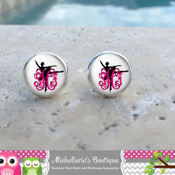 Ballet Dancer Monogram Earrings, Ballet Dancer Jewelry, Ballet Dancer Accessories, Dance, Gifts for Her, Gifts under 10
