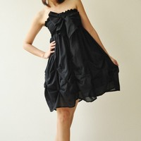 Baby Doll Black Cotton Dress/Skirt by aftershowershop on Etsy