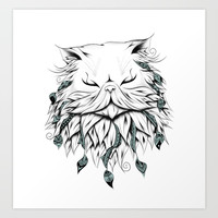 Poetic Persian Cat Art Print by loujah