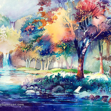 Watercolor Painting Landscape Print by Michael David Sorensen. Waterfall. Lake. Negative Painting. Colorful Trees. Deer. Blue. Cyan.