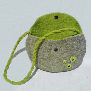 Felted Handbag Grey Wallet Felt Bag Nunofelt Wallet Nuno felt Green Button merino Wool - Hippie