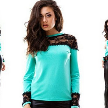 Autumn Lace Patchwork Slim T-shirts Bottoming Shirt [7322491649]