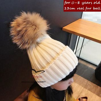 15 colors Baby's Winter knitted hat with fur poms poms Unisex Knitting beanies for kids flexible casual snow caps for boy girls