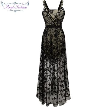 Angel-fashions Beading Straps Cross See Through Butterfly Pattern Long Evening Dress Black 195
