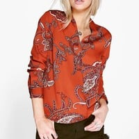 Frankie Paisley Printed Woven Wrap Front Blouse