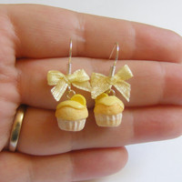 Scented or Unscented Lemon Cupcake Miniature Food Earrings - Miniature Food Jewelry