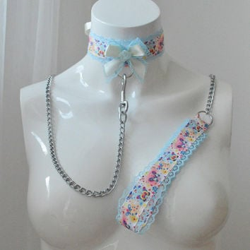 Kitten play collar and leash - Butterfly kitty - ddlg cute little princess bdsm proof choker with chain lead - pastel colorful blue yellow