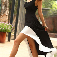 Black Sleeveless Strappy Cut Out Back Asymmetric Hem Casual Dress