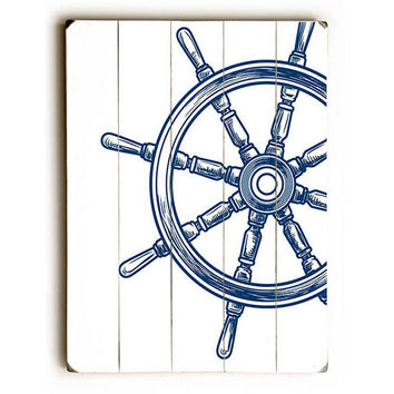 Navy Wheel by Lotus Leaf Collection Wood Sign