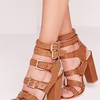 Missguided - Buckled Block Heel Gladiator Sandals Tan