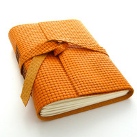 Orange Leather Journal and Sketchbook, An Autumn Journal in Orange and Brown
