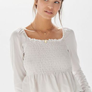 Truly Madly Deeply Sofia Smocked Peplum Top | Urban Outfitters