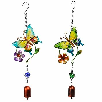 H&D New Creative Handmade Metal Butterfly Wind Chime Bell Garden Living Decor Ornament Baby Craft  Gifts (Two colors for Chose)