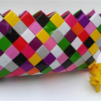 Colorful Clutch-Purple clutch bag-pink clutch bag-origami bag-Candy  wrapper  bag...