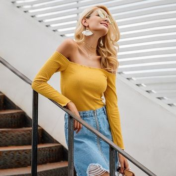 Off shoulder knitted long sleeve camisole top