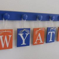 Blue and Orange Nursery Decor Baby Boy Room Wall Decor Name for WYATT with 5 Hooks