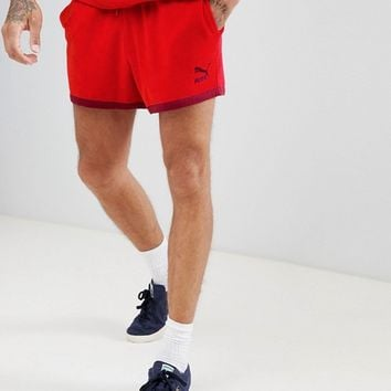 Puma Organic Cotton Towelling Shorts In Red Exclusive To ASOS at asos.com