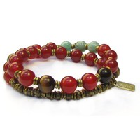 Stability, Genuine Carnelian, Tiger's Eye and Amazonite 27 Bead Wrap Mala Bracelet