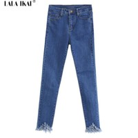 Brand High Waisted Skinny Jeans Women Fashion Fringed Women Jeans Denim Pants Vintage Ripped Blue Jeans Trousers Femme KWA0102-5