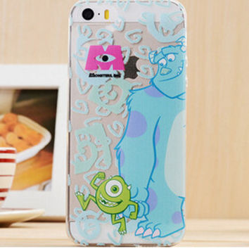 Cute Blue & Green Monsters Inc Cartoon TPU Transparent Soft Phone Back Case Shell Cover for iPhone 5 5S SE