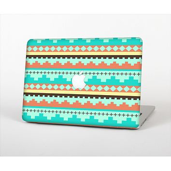 The Teal & Gold Tribal Ethic Geometric Pattern Skin Set for the Apple MacBook Air 11""