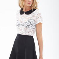 Lace Peter Pan Collar Top - Tops - Blouses & Shirts - 2055879569 - Forever 21 UK
