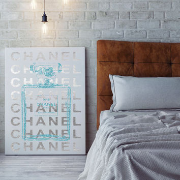 24x36 large Chanel poster,digital file, instant download, coco chanel, chanel no5 canvas, silver foil effect, teal glitter effect, no5 art