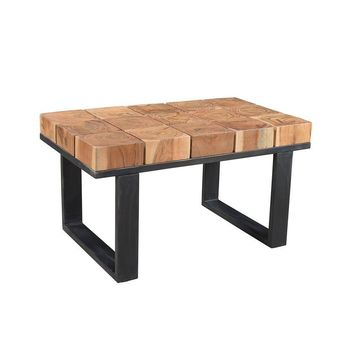 Modern Solid Acacia Wood Coffee Table/Bench with Iron Legs