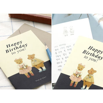 Iconic Happy birthday illustration pattern message card