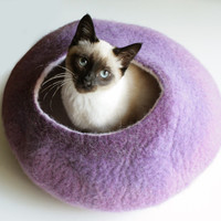 Cat Nap Cocoon / Cave / Bed / House / Vessel - Hand Felted Wool - Crisp Contemporary Design - READY TO SHIP Warm Purple Bubble