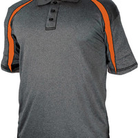badger adult fusion three button polyester polo shirt - carbon / burnt orange (m)