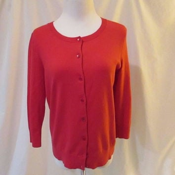 Talbots Petite Pima Cotton Cardigan Sweater Women's M Pink 3/4 Sleeve Crew Neck