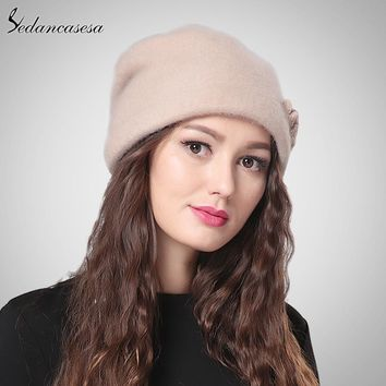 Sedancasesa New Lady Cloche Hat with 100% Australian Wool Autumn Winter Keep Warm Hats For Women Bucket Hat WG015021