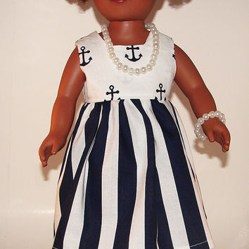 "18 Inch Doll Dress, Navy And White Stripes And Anchors Dress & Jewelry, Made To Fit 18"" Dolls Like American Girl, My Life, And Springfield"