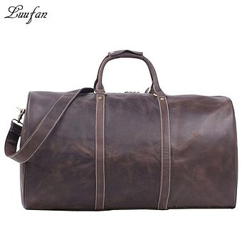 Men's Crazy horse leather travel duffel Bag genuine leather travel bag vintage cowhide bag Large weekend bag tote bag