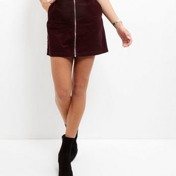 Burgundy Zip Front Cord Skirt