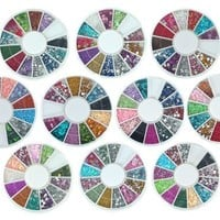 Bundle Monster 10 Nail Art Nailart Manicure Wheels w/ 3D Designs Glitters Rhinestones Beads - total over 14000pc:Amazon:Beauty